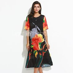 Women's Plus Size / Going out Chinoiserie Loose DressFloral Round Neck Maxi  Length Sleeve Black Polyester Summer - GBP £20.06 ! HOT Product! A hot product at an incredible low price is now on sale! Come check it out along with other items like this. Get great discounts, earn Rewards and much more each time you shop with us!
