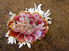 Heng Lee cloisonne flower brooch