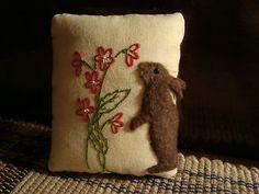 Rabbit On Vintage Embroidered Mini Pillow