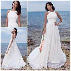 Cheap Beach Wedding Dresses - Discount Train Chiffon Backless Beach Wedding Dresses Summer Dress Online with $121.58/Piece | DHgate