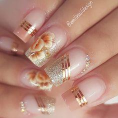 "Espero que gostem"". Pretty Nail Art, Beautiful Nail Art, Gorgeous Nails, Nail Manicure, Toe Nails, Pink Nails, Elegant Nails, Stylish Nails, Nagellack Design"