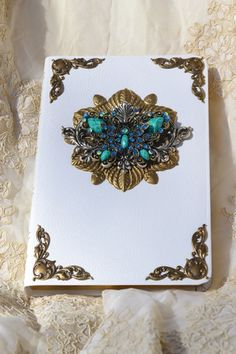 Jeweled Crystal Butterfly Personal Size Bible KJV-Turq