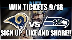 "WIN LA Rams vs Seattle Seahawks tickets!!! Simply pre-register for our free new sports app (at www.crazynewsportsapp.com/lavssea ), ""Like"" and ""Share"" this post to win!! #Larams #Seahawks #NFL #Football"