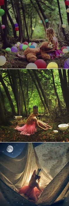 either a teepee or drape cool fabric. whimsical feel in the forest with DIY paper crowns and dresses: