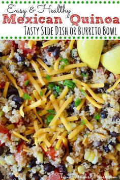 Healthy Mexican Quinoa with black beans, corn, tomatoes, and cheddar is an easy side dish recipe. This salad is vegetarian friendly or can be added to grilled chicken for a burrito. Easy Brunch Recipes, Easy Salad Recipes, Easy Salads, Side Dish Recipes, Healthy Recipes, Brunch Ideas, Dinner Recipes, Healthy Food, Healthy Meals