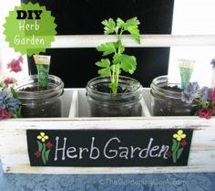 DIY Mason Jar Herb Planter in Famer's Market tray #EarthDayProjects❤️
