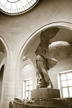 """The Winged Victory of Samothrace, also called the Nike of Samothrace, is a marble Hellenistic sculpture of Nike (the Greek goddess of victory), that was created about the 2nd century BC. Since 1884, it has been prominently displayed at the Louvre and is one of the most celebrated sculptures in the world. H.W. Janson described it as """"the greatest masterpiece of Hellenistic sculpture"""", and it is one of a small number of major Hellenistic statues surviving in the original, rather than Roman…"""