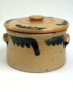 Circa 1880-1895: Beautiful Decoration, Rare Color. Note the unusal glaze on this lovely stoneware butter crock!