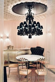 black chandelier and padded ceiling-amazinnng