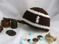 Rugby crochet baby hat