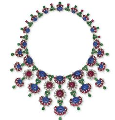 A MAGNIFICENT RUBY, SAPPHIRE, EMERALD AND DIAMOND NECKLACE, BY BULGARI.  Estimate $518,462 - $777,692.  Christie's Magnificent Jewels Auction, May 2014, HK.