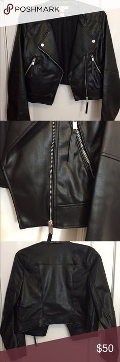 Black Faux-Leather Jacket Brand new, never used. Without tags Collar-less cropped leather jacket with silver zippers. Jackets & Coats