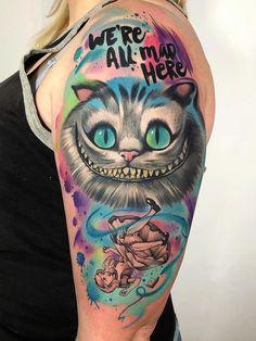 Alice in wonderland tattoo M Tattoos, Badass Tattoos, Body Art Tattoos, Print Tattoos, Sleeve Tattoos, Tattoo Art, Alice In Wonderland Tattoo Sleeve, Alice In Wonderland Drawings, Cheshire Cat Tattoo