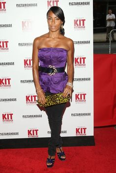 Jada Pinkett Smith Platform Sandals - Jada donned platform, berry-colored Tribute Sandals with skinny jeans and a satin tube top. Jada Pinkett Smith, Strapless Dress Formal, Formal Dresses, Blue Shoes, American Girl, Yves Saint Laurent, Platform, Skinny Jeans, Actresses
