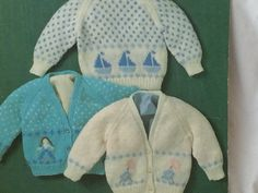 UK/EU SELLER Vintage pdf knitting pattern sweater & cardigan patterned with panels boats/yachts girl skipping, flowers. Keynote 3118.…