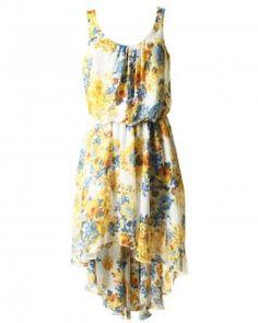 LOVE Yellow Rose Print Pleat Neck Asymmetrical Maxi Dress - Love!