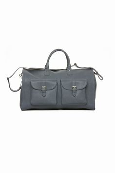 Leather Bag at hook + ALBERT in Black Saffiano Leather, Blue Saffiano Leather