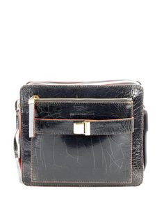 Deco safety cracked-leather bag