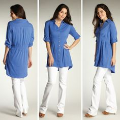 Women's organic tunic cotton top in Bluebell. Fair trade, ethical fashion from INDIGENOUS.
