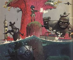 All on plastic beach Murdoc have his cape back so hot and in a boat the picture come from this site [link] Gorillaz (c) Jamie Hewlett and Damon. Gorillaz on Plastic beach Art Gorillaz, Gorillaz Wiki, Gorillaz Plastic Beach, Jamie Hewlett Art, Illustrations, Illustration Art, Demon Days, Art Tumblr, Band Posters