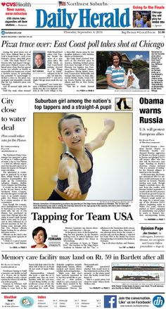 Daily Herald front page, Sept. 4, 2014; http://eedition.dailyherald.com/