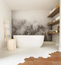 Landscape Murals: Inspiration & Sources | Centsational Style Modern Shower, Modern Bathroom, Small Bathroom, Bathroom Plants, Boho Bathroom, White Bathroom, Wallpaper Sky, Forest Wallpaper, Wallpaper Application