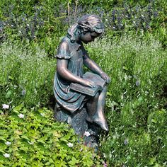 garden sculptures and statues | Girl Reading Garden Statue - Bronze Effect Sculpture