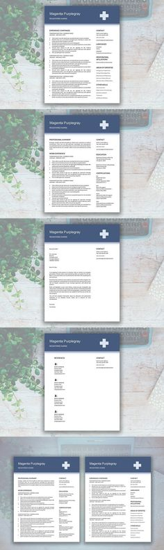 Nurse Resume Template - Medical cv - CV Template - Free Cover Letter - free nursing resume templates