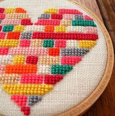 LEGO Heart Cross Stitch.  #cross_stitch #lego #heart