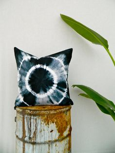 WAYFARER . tie dye cushion cover . black . cotton . boho gypsy hippie industrial . au wandarrah etsyau . throw pillow