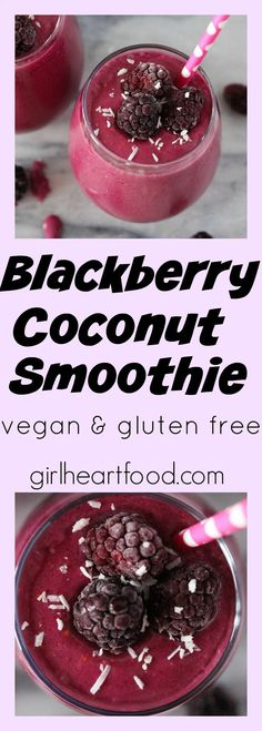 Made with only five ingredients, this Blackberry Coconut Smoothie is a delicious way to start your morning. There are super-good-for-you blackberries, banana and unsweetened shredded coconut. #vegan #glutenfree #smoothie #breakfast #blackberrycoconut #dairyfree #blackberrysmoothie #blackberryrecipe