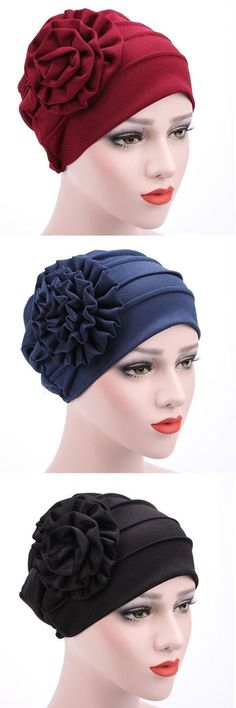Women New Side Paste Large Flower Beanies Cap Casual Luxury Cotton Solid Bonnet Hat