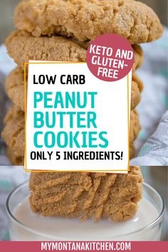 Made with only 5 ingredients, these low carb peanut butter cookies are keto and gluten-free! They are so good and will be gone in no time! Gluten Free Cookie Recipes, Sugar Free Desserts, Best Low Carb Snacks, Low Carb Recipes, Keto Dessert Easy, Peanut Butter Cookies, Lchf, Baked Goods, Dairy Free