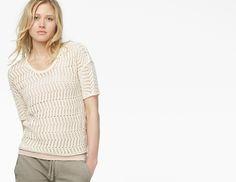 Only $46! James Perse White Cobweb Stitch Short Sleeve Pullover Sweater Shirt 4 XL $245 #shopmodo #modoboutique