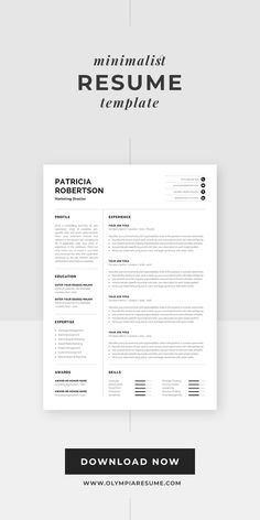 Professional resume template with minimalist design. Resume template Patricia includes a one-page resume, cover letter and references for a complete and consistent presentation. Get your copy now and build an eye-catching and effective resume for a successful job application. One Page Resume Template, Modern Resume Template, Creative Resume Templates, Creative Cv, Cover Letter For Resume, Cover Letter Template, Resume Examples, Resume Tips, Cv Words