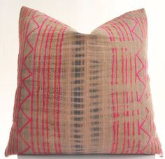 Hmong Pillow Cover Vintage Textile Ethnic Handmade by Boho Pillow
