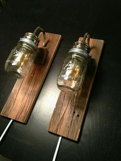 Rustic Bedside Lamps - made with REclaimed Barn Wood - Industrial Lighting. Use the LED lamps instead of regular ones