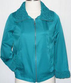 Susan Graver M Teal Green Zip Jacket Ruffled Collar Cuffs Coat Windbreaker Women #SusanGraver #BasicJacket
