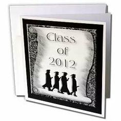 Beverly Turner Graduation Design - Graduates Class of 2012 on Diploma Black and White - Greeting Cards-6 Greeting Cards with envelopes by 3dRose. $10.49. Graduates Class of 2012 on Diploma Black and White Greeting Card is measuring 5.5w x 5.5h. Greeting Cards are sold in sets of 6 or 12. Give these fun cards to your friends and family as gift cards, thank you notes, invitations or for any other occasion. Greeting Cards are blank inside and come with white envelopes.. Save 28%!
