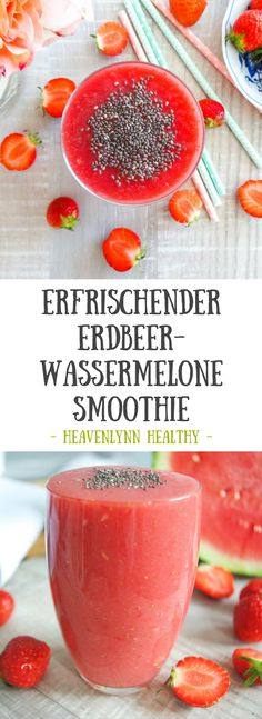 Erdbeer-Wassermelone Smoothie - Heavenlynn Healthy Kiwi Smoothie, Blackberry Smoothie, Watermelon Smoothies, Strawberry Banana Smoothie, Smoothie Prep, Smoothie Recipes, Evening Meals, Crunches, Eating Plans
