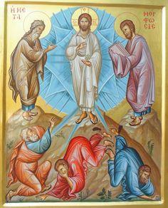 The Transfiguration by Dimitrios Skourtelis Roman Church, The Transfiguration, Byzantine Icons, Orthodox Christianity, Religious Images, Orthodox Icons, I Icon, Sacred Art, Jesus Christ