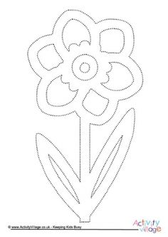 Daffodil tracing page for practising pencil control Flower Crafts Kids, Spring Crafts For Kids, Diy Crafts For Kids, Easter Crafts, Spring Coloring Pages, Colouring Pages, Dragonfly Art, Crafts For Seniors, Spring Activities