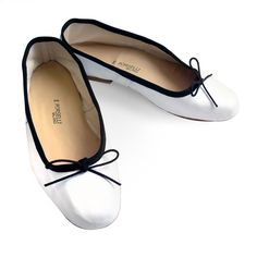 Porselli Ballet Flat 0,5 cm heel White with Black Trim