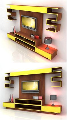 This beautiful modern and contemporary designed neon media cabinet wall works well for a nicely styled house. Its bold and beautiful with sufficient wall shelves and drawers. the Television is fixed on a wooden plank, attached to the wall.