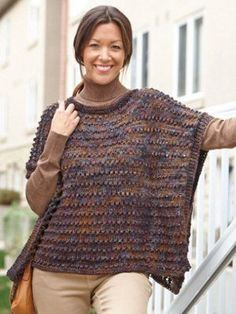 Say hello to your new autumn go-to. The Soft and Sophisticated Poncho is the perfect combination of sleek style and cozy comfort. This delicious knit poncho pattern features warm earth tones and an interesting stitch design for a stylish look.