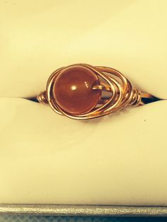 Red Aventurine and copper wrap ring