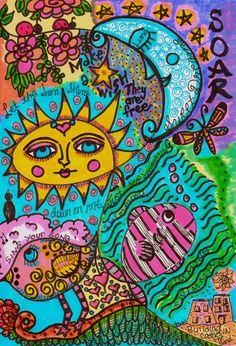 Hippie Art Original A Day In Summer by DawnCollinsArt on Etsy, $25.00