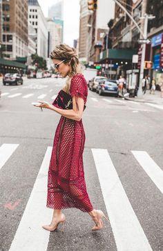 . Midi Dress Outfit, Dress Outfits, Fashion Dresses, Lace Dress, Eyelet Dress, Mesh Dress, Modest Fashion, Street Style Chic, Autumn Street Style