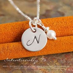 Sterling Silver Hand Stamped Jewelry - Tiny Initial Necklace ♥ Intentionally Me by Nayeli ♥