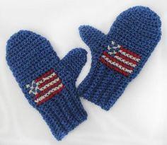 Team USA Crochet Mittens | AllFreeCrochet.com